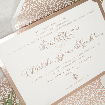 Elegant Rose Gold Wedding Invitation, Foil Pressed onto Bamboo Paper, Ornate Foil Envelope Liner and Calligraphy Style Font