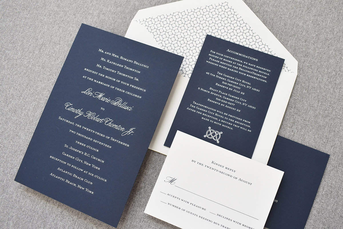 Classic Nautical Wedding Invitation, Engraved White Ink on Navy Paper, Nautical Knot Detail