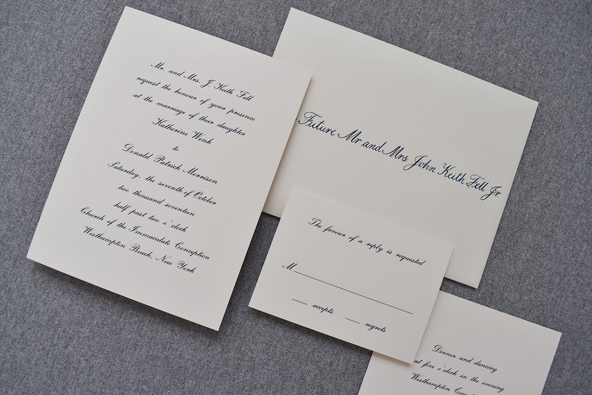 Engraved Navy Invitation, hand calligraphy envelope, traditional style on cream, ivory paper
