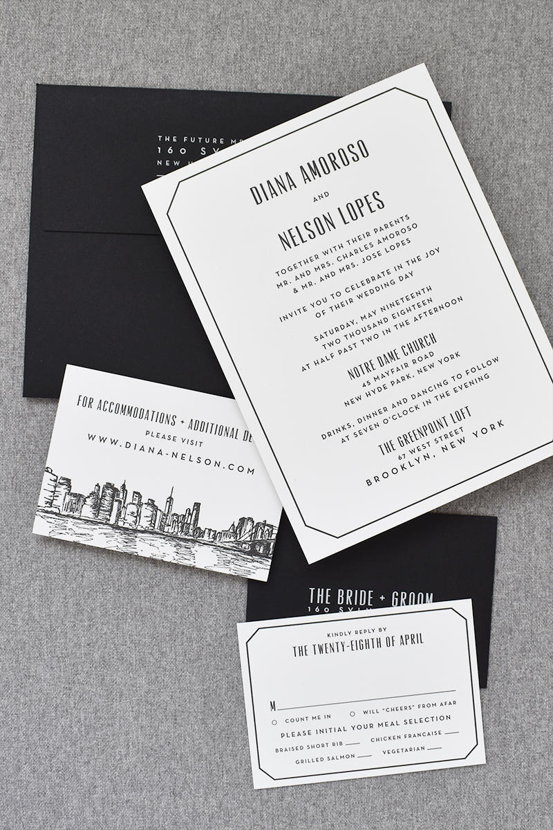 New York Skyline Wedding Invitation, Black letterpress with black envelopes, modern design