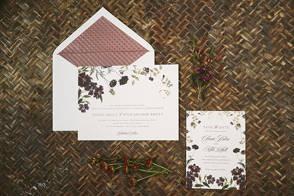 Wildflower Save the Date and Invitation, designed and printed by Bella Figura, Purple and green tones with copper foil details