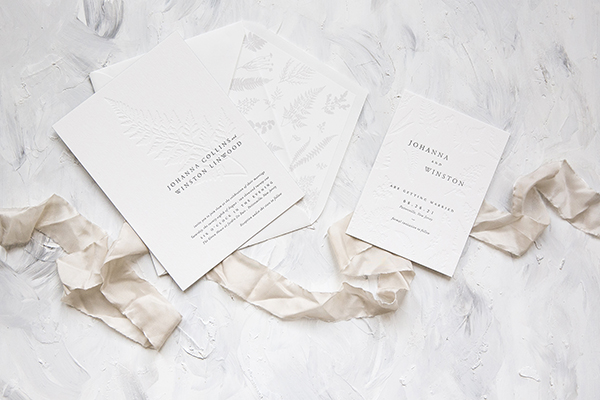 Letterpress Fern Wedding Invitation, neutral color palette, designed and printed by Bella Figura