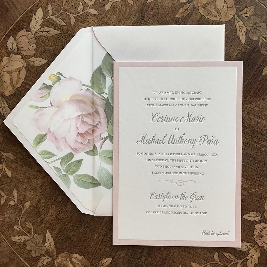 Vintage Rose Letterpress Invitation, Blush and gray color palette, pink border and floral envelope liner