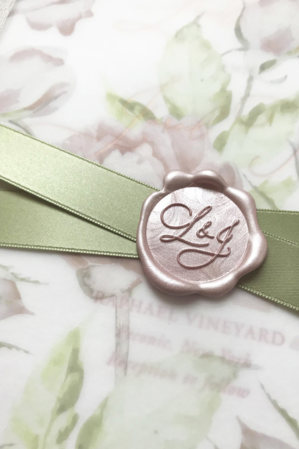 Monogram Wax Seal, Sage Ribbon and floral vellum invitation