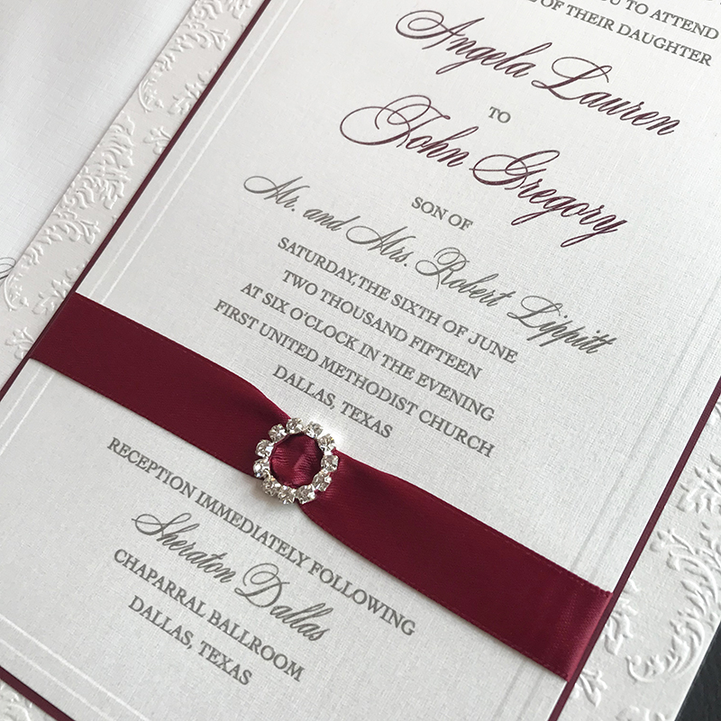 Formal Wedding Invitation with Ribbon and Buckle, White and burgundy color palette, crystal buckle with ribbon detail