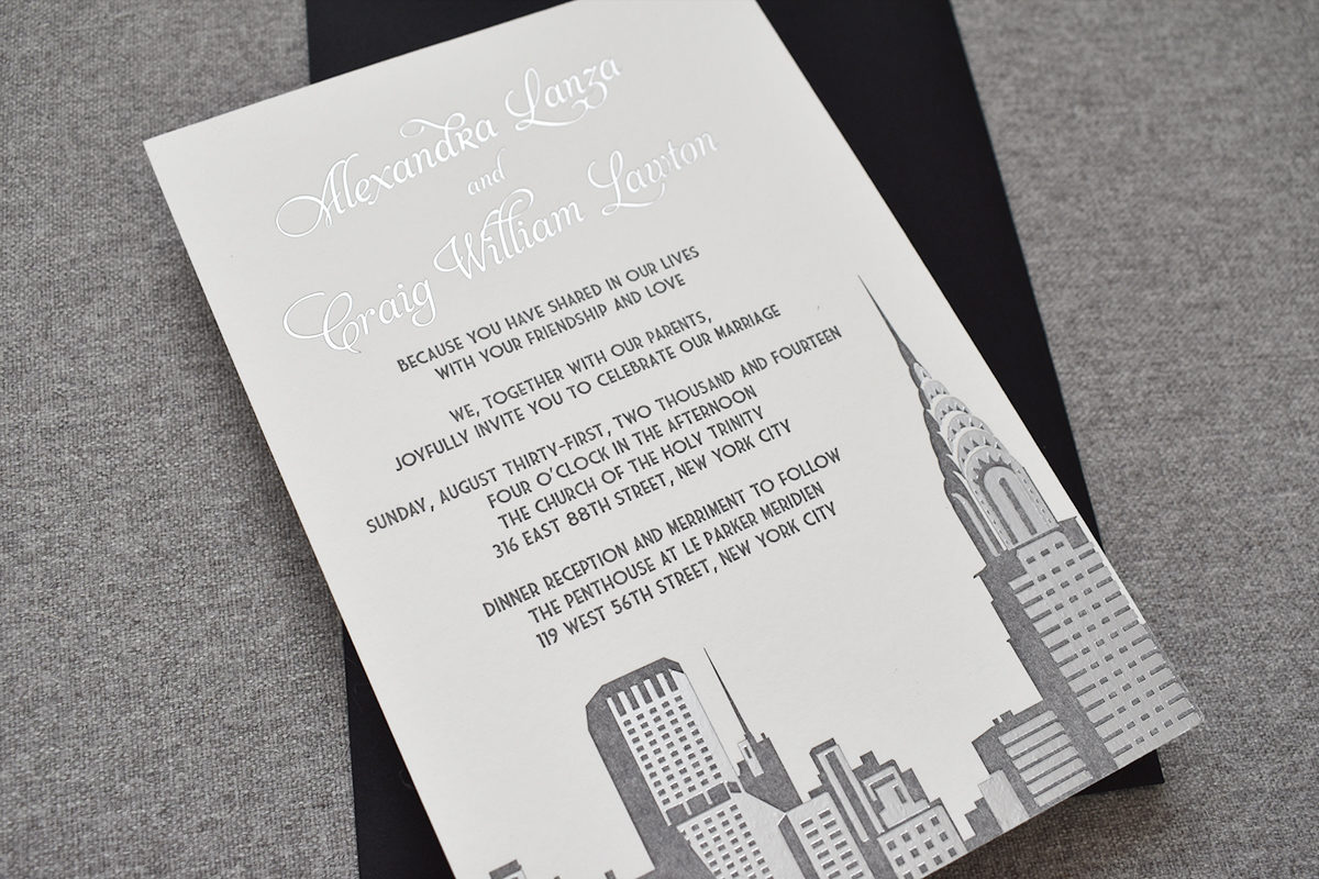 Chrysler Building Wedding Invitation, New York City Skyline, Letterpress and Foil, Art Deco Style
