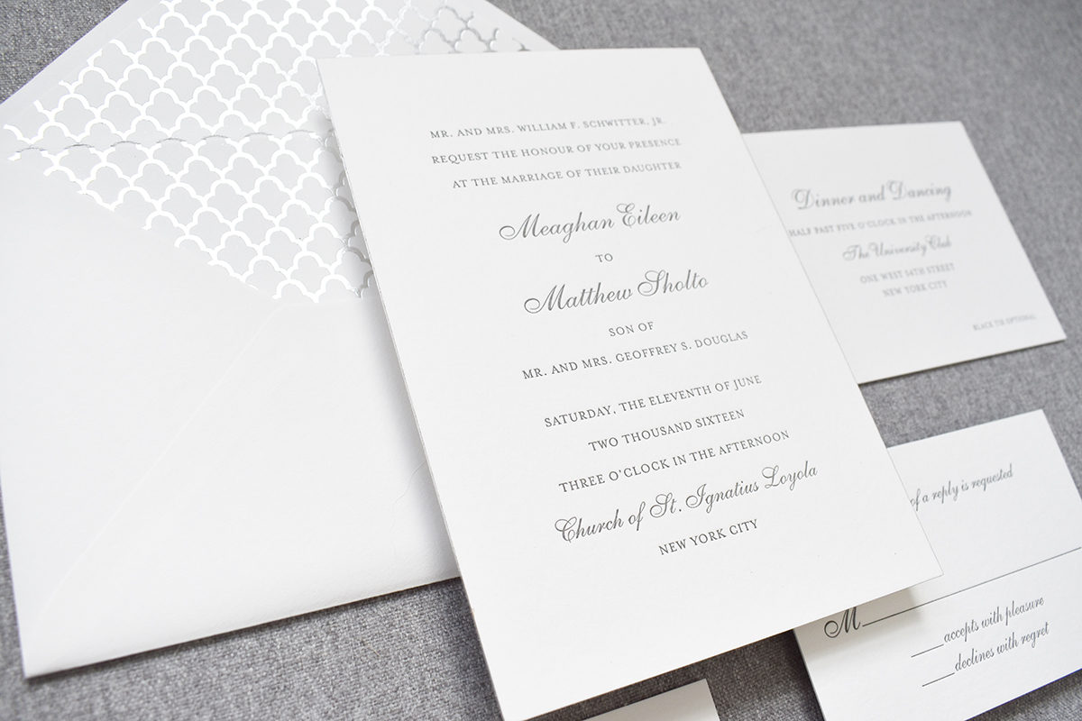 Classic Silver Wedding Invitation, Ornate, Deco Foil Envelope Liner, Letterpress Invitation, for The University Club