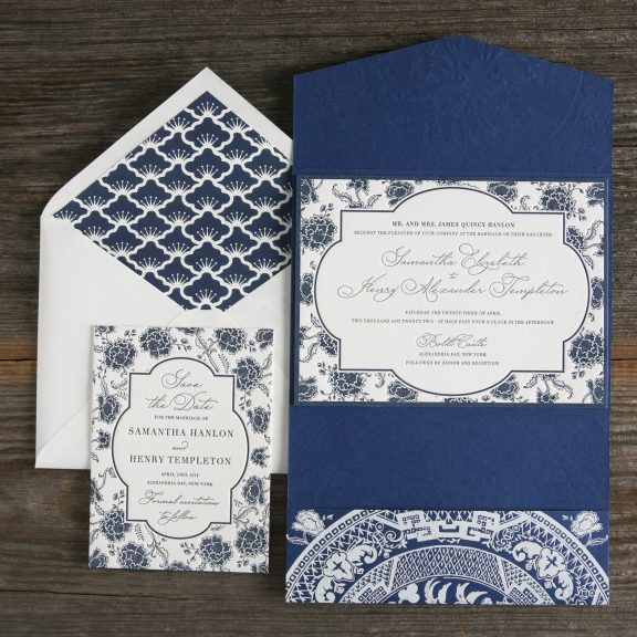 Delft Letterpress Pocket by Bella Figura, deflt design on cobalt blue pocket with patterned envelope liner and letterpress save the date