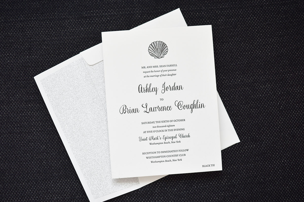 Letterpress Coastal Wedding Invitation, Black letterpress with sliver glitter envelope liner, seashell motif and traditional typesetting