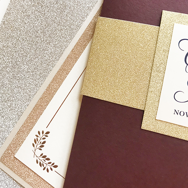 Glitter Wedding Invitations, Gold, Rose Gold, and Silver Glitter Paper