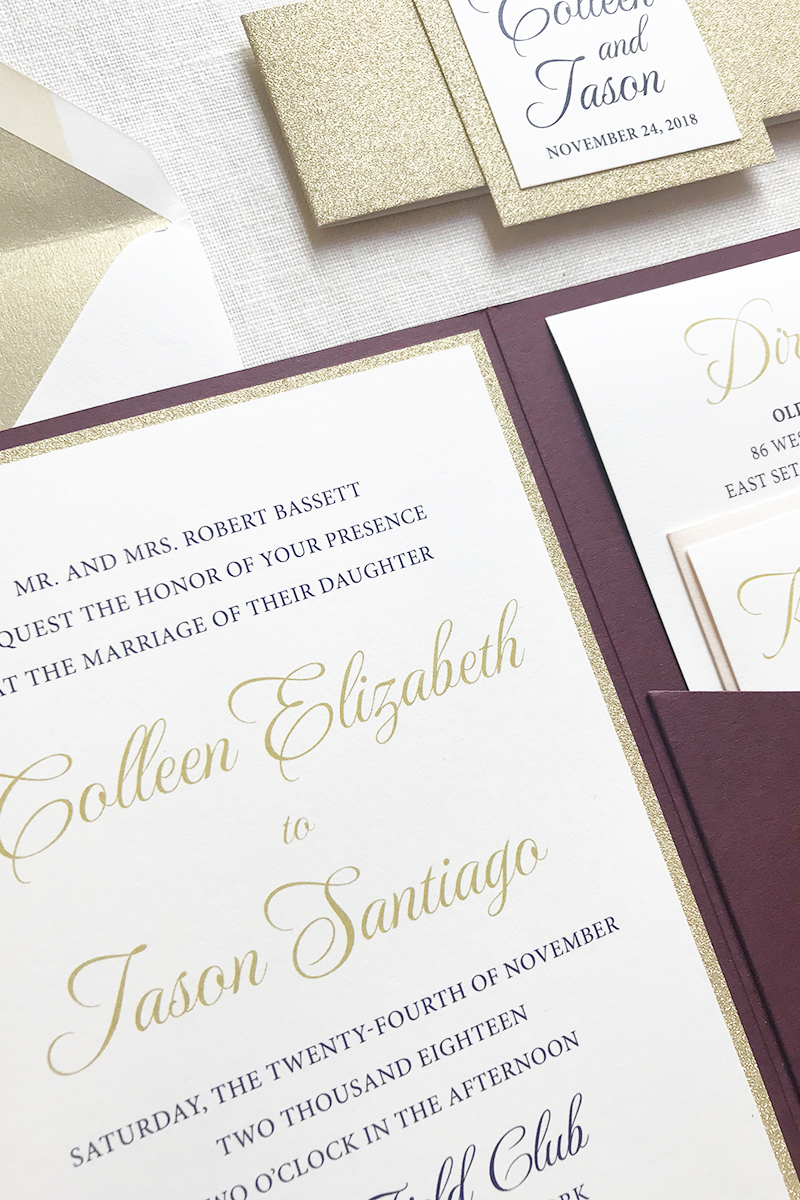 Gold Glitter Wedding Invitation, Maroon, gold and ivory color palette, designed for the old field club, traditional typesetting