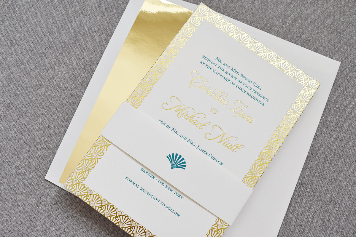 Art Deco Wedding Invitation, Gold foil and teal letterpress details, shiny gold envelope liner