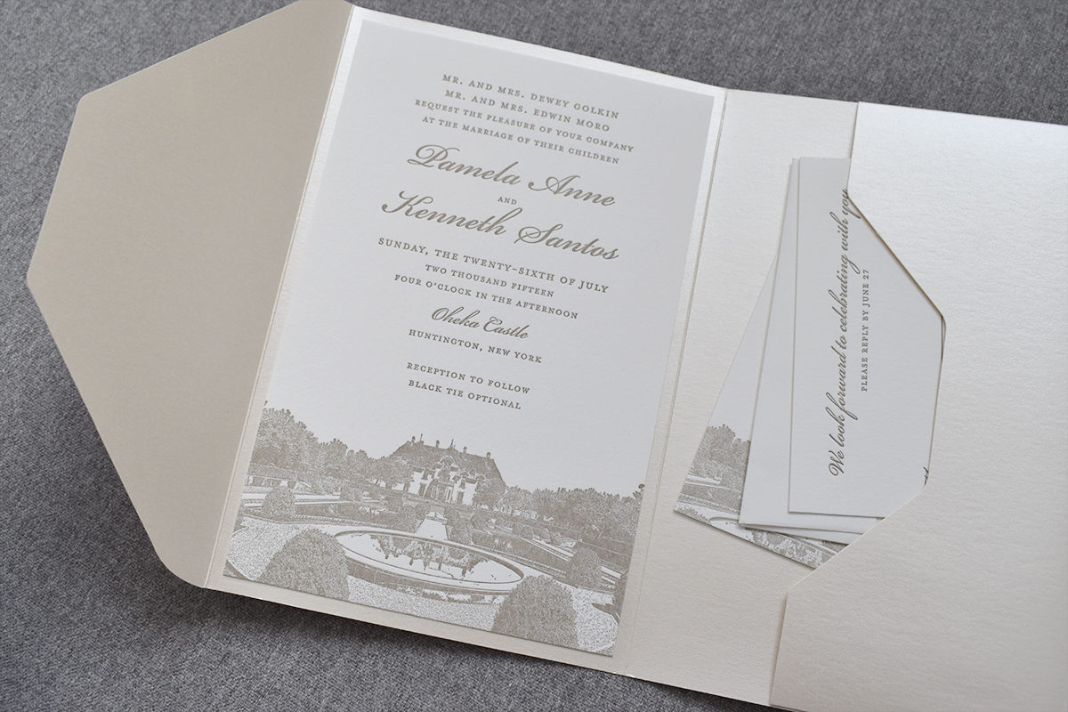 Pocket Invitation for Oheka Castle Wedding, Ivory pocket with taupe letterpress details, castle illustration