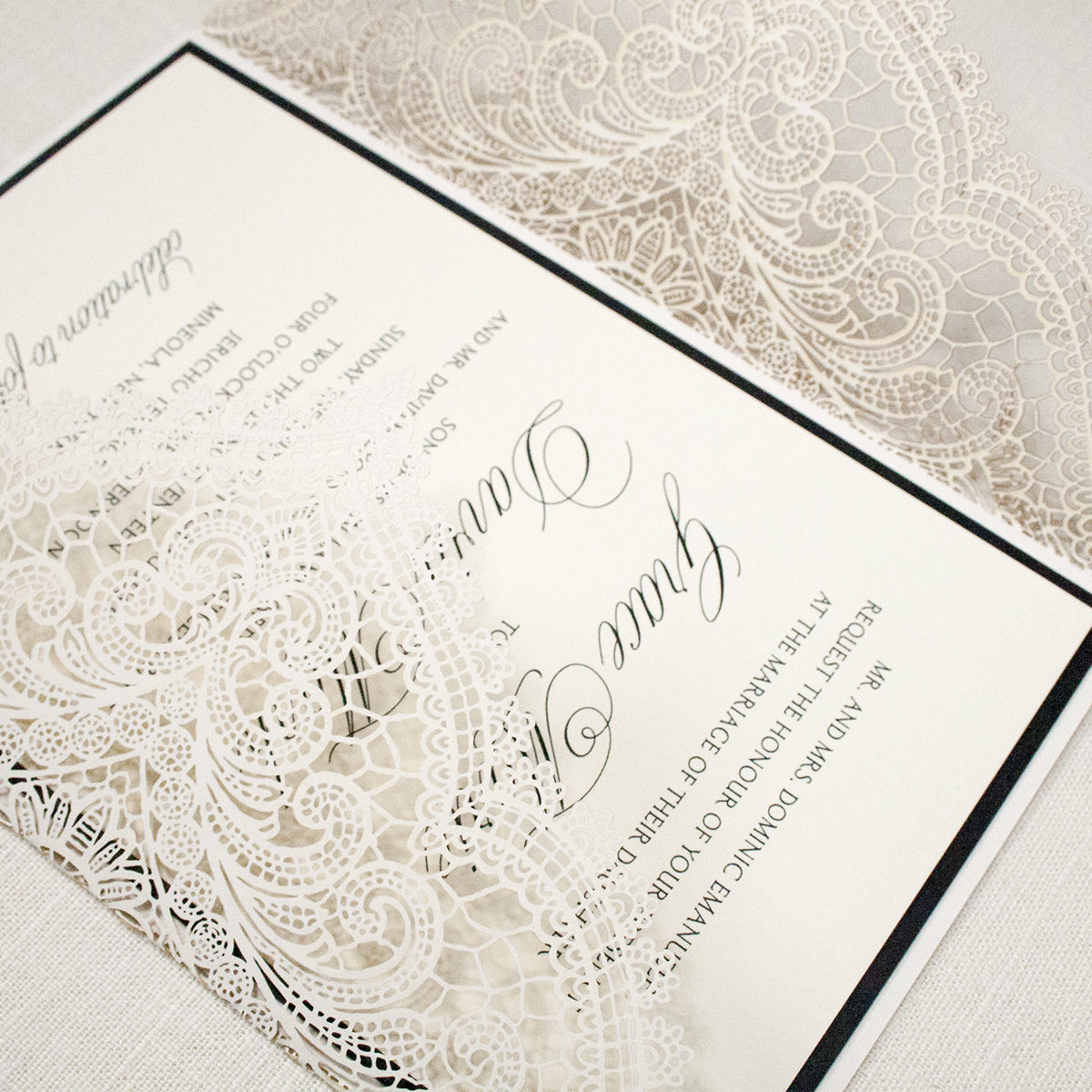 Formal Lasercut Wedding Invitation, Black thermography with ivory lasercut gatefold