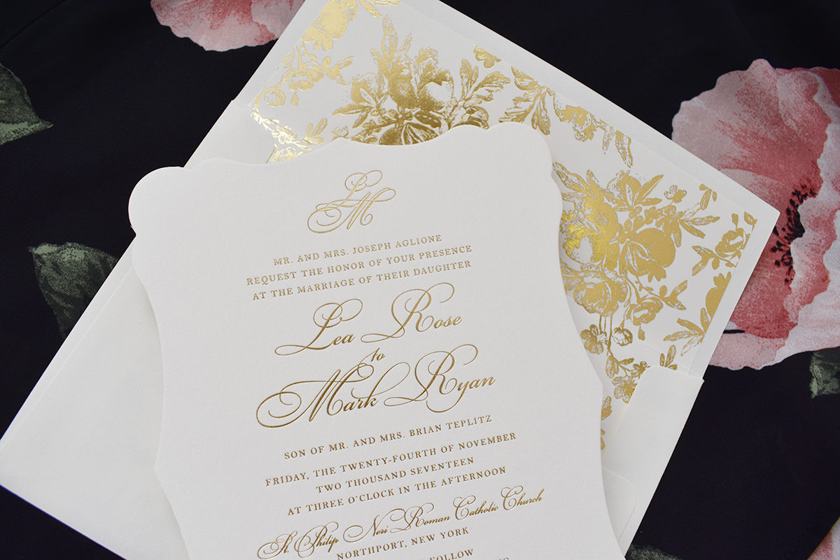 Formal Oheka Castle Wedding Invitation, Gold foil with floral envelope liner, diecut shape