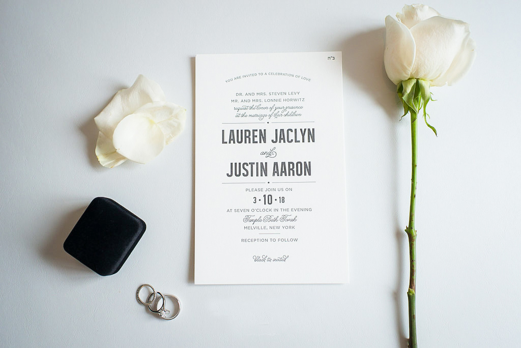 Modern Letterpress Invitation, black and white color palette, jewish wedding, photography by EXO photography