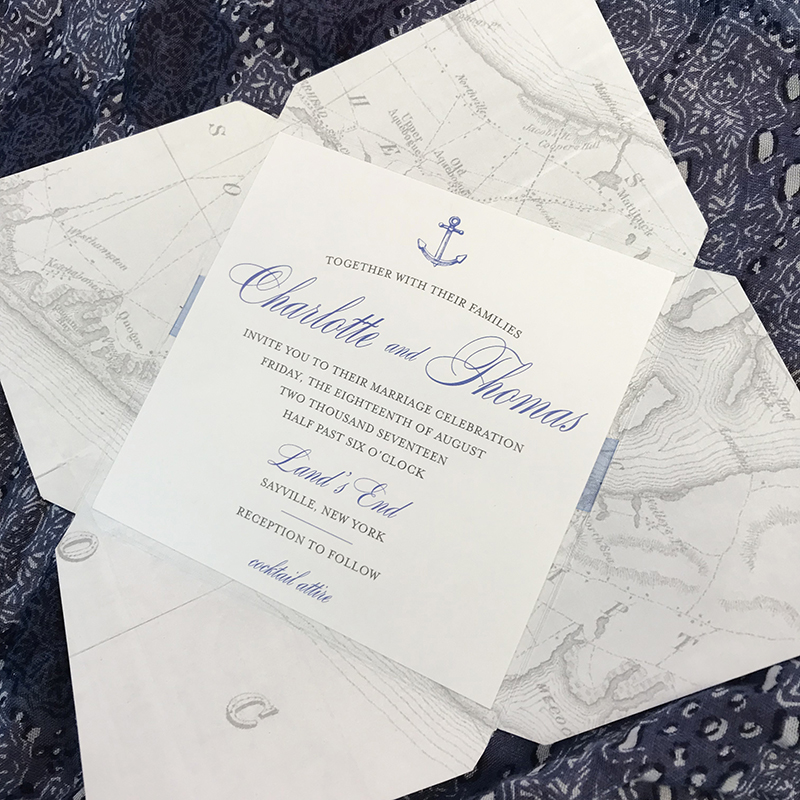 Nautical Pocket Invitation, Vintage map and anchor details, blue and gray color palette
