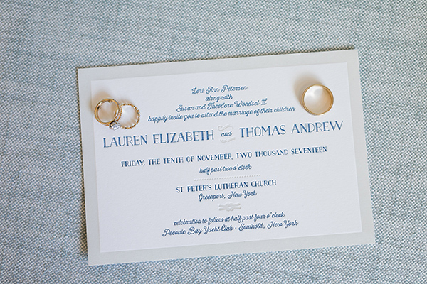Classic Nautical Wedding Invitation, navy and ivory color palette, gold rings to accent