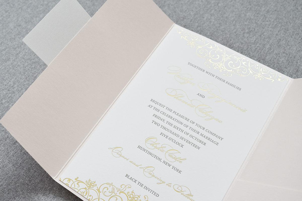 Oheka Castle Wedding Invitation with Gold Scroll Details, Blush Pocket