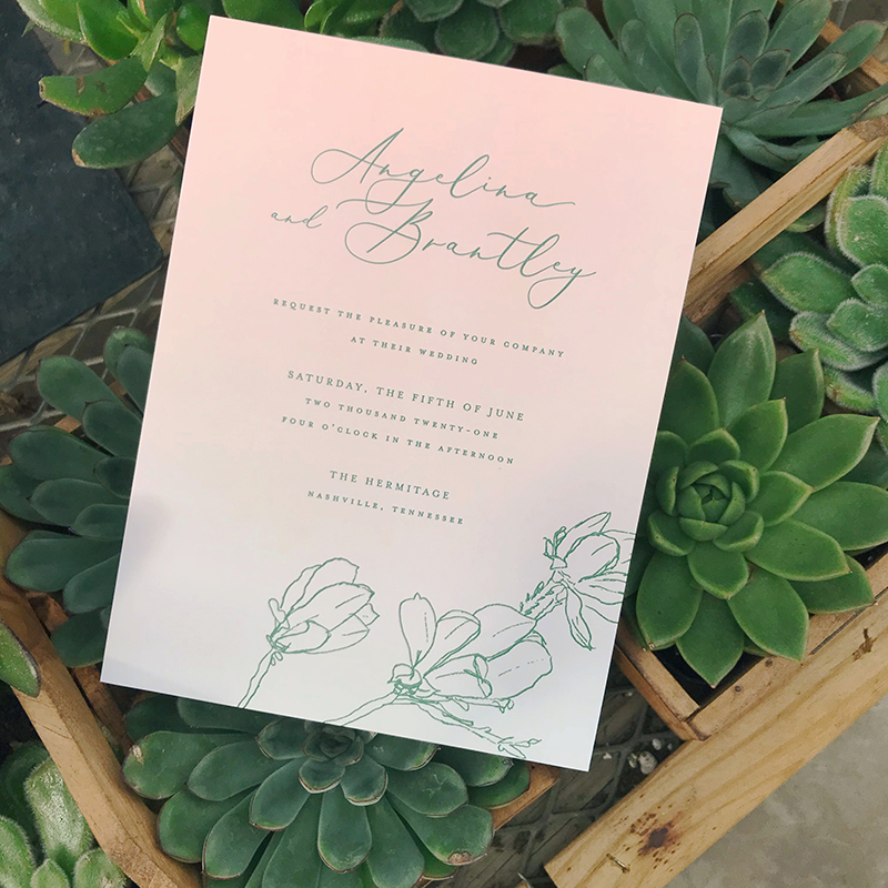 Blush Ombre Wedding Invitation, Pink background with green letterpress text, floral details photographed with succulents