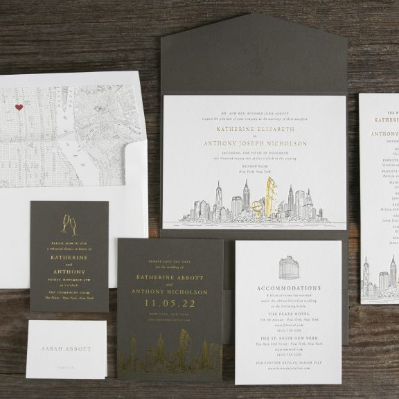 Rockefeller New York Skyline Invitation, Letterpress and foil with map detail, gray pocket