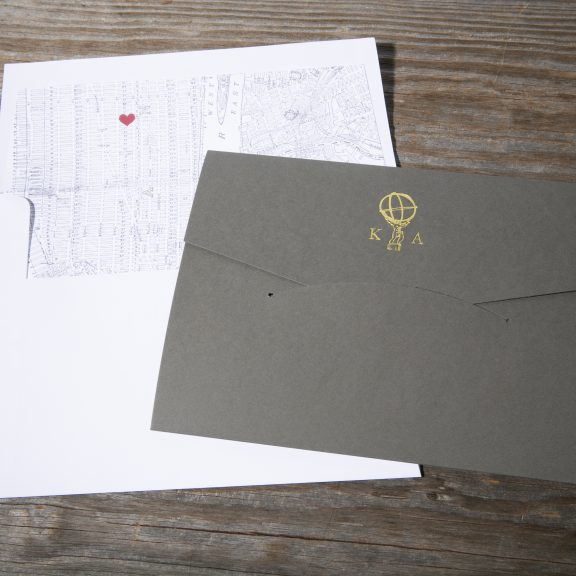 New York City Map Invitation, Gray Pocket with Gold Monogram, Heart Detail on Map