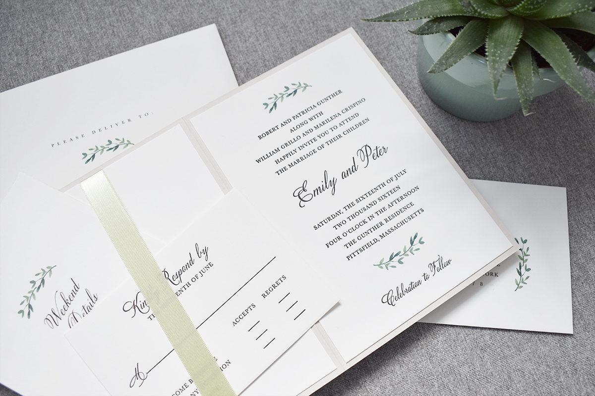 Rustic Pocket Wedding Invitation, Celadon ribbon and green leaf details, black letterpress text, succulent accent