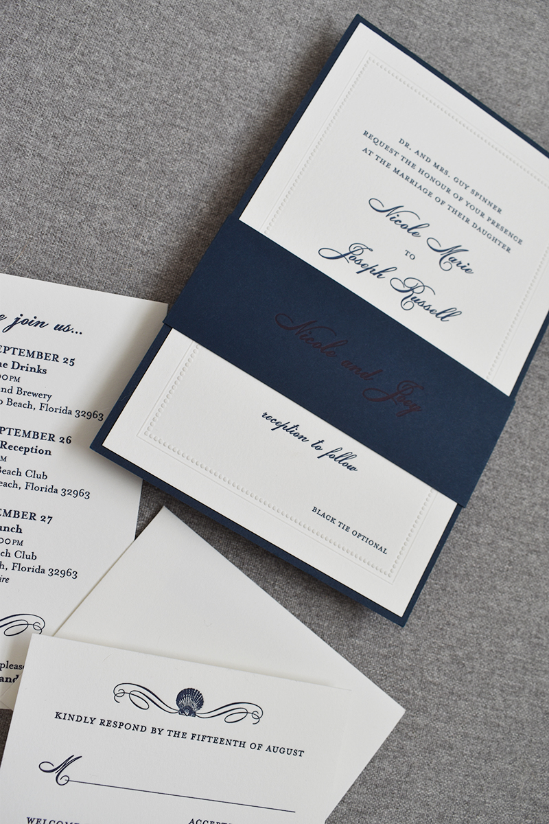 Classic Navy Wedding Invitation, Beaded Border with Navy Bellyband, Letterpress Printing and Navy Border, Sea Shell Detail