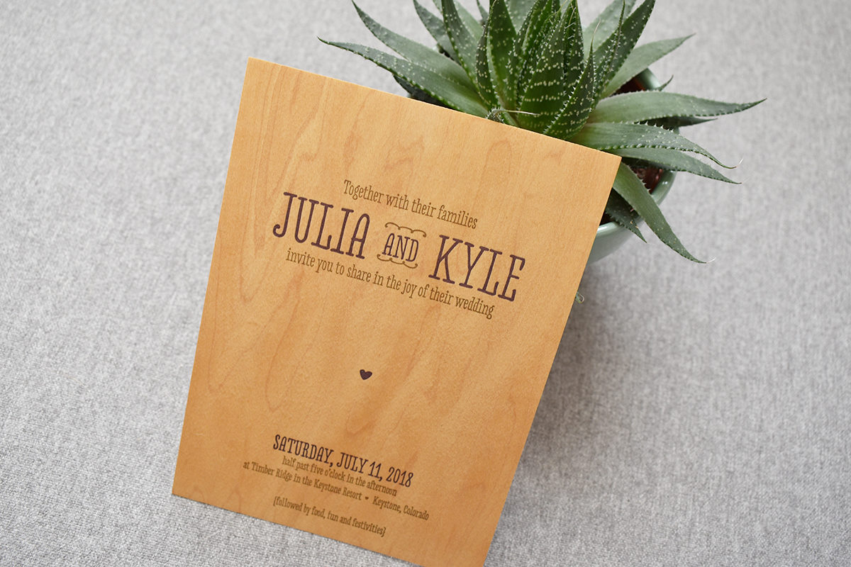 Rustic Woodgrain Wedding Invitation, Letterpress Printing on Wood, Whimsical Fonts and Succulent Detail